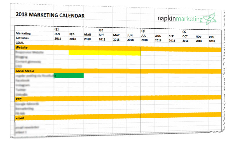 Free  Marketing Plan Calendar Template  Napkin Marketing