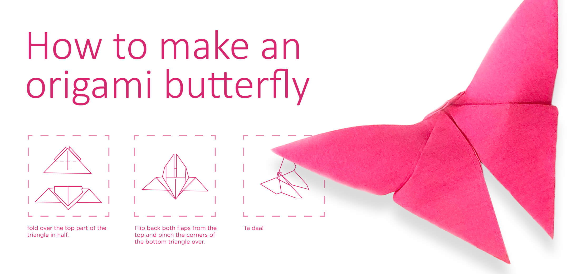 A step by step guide to creating an  origami butterfly out of a post-it.